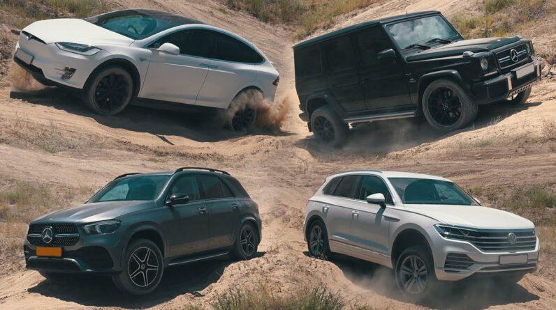 SUV Battle 2020: Tesla Model X, Mercedes G63 & GLE, BMW X5, Volkswagen Touareg, Toyota FJ Cruiser